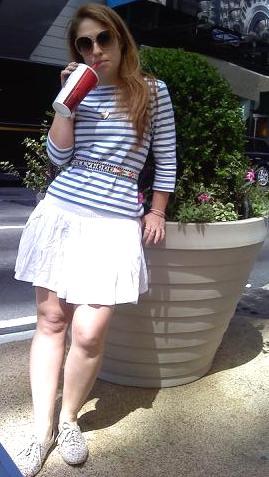 "Top, The original french striped shirt from St James. Skirt, H&M. Flower oxfords, Forever 21. Belt, Vintage ""HOLLYWOOD"" souvenir beaded belt"