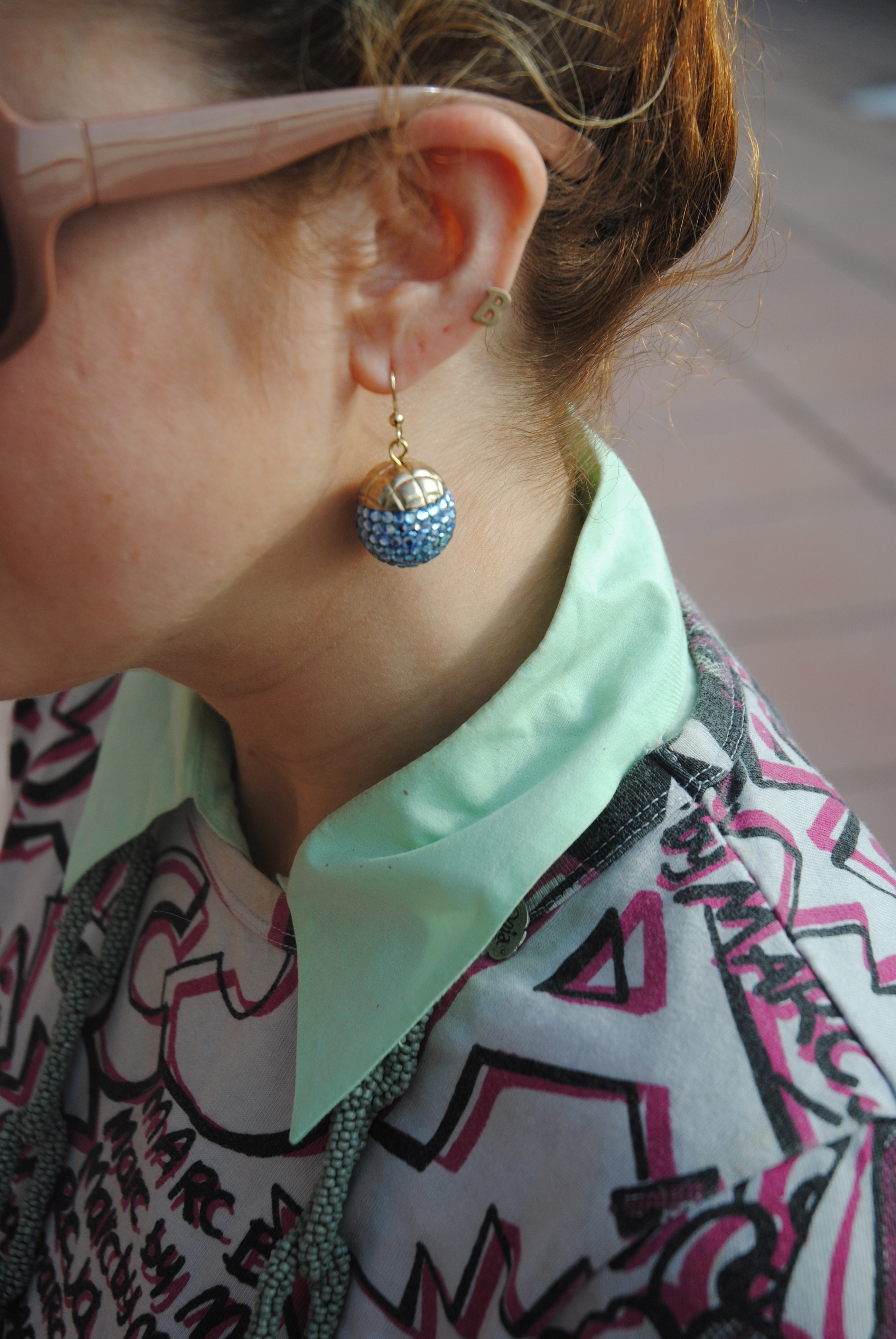 Blue sparkle drop earrings; vintage; My Mothers Closet