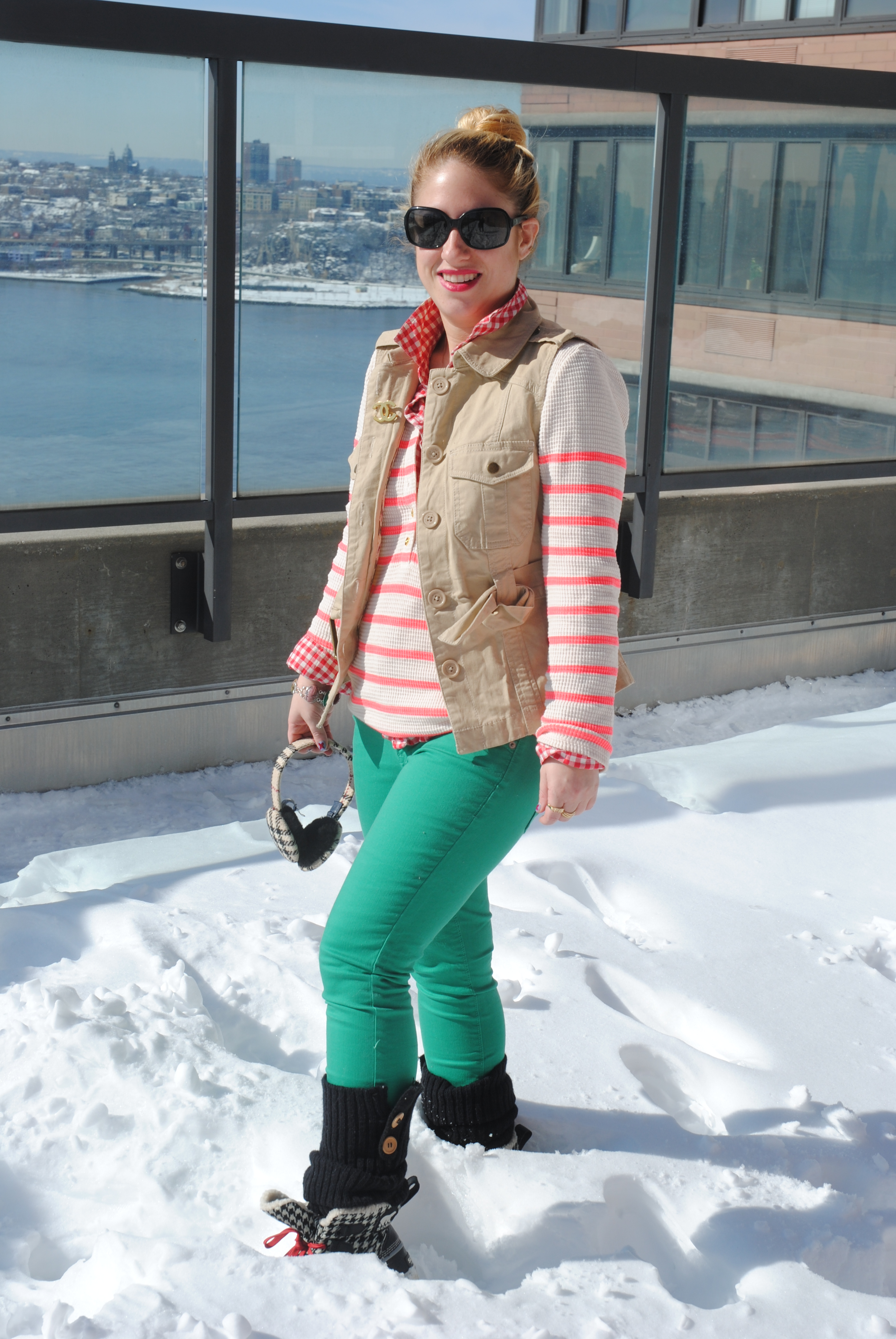 Emerald green jeans, Old Navy $15. Orange striped henley, J crew. gingham shirt under, Old Navy (old, no longer available). Earmuffs, Burberry