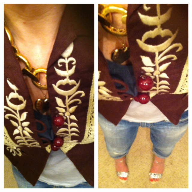 Embroidered Jacket, Nanette Lepore, thrifted @ City Housing Works. Zara sandals and Julie Vos Necklace, also seen Here @ lucky Fabb