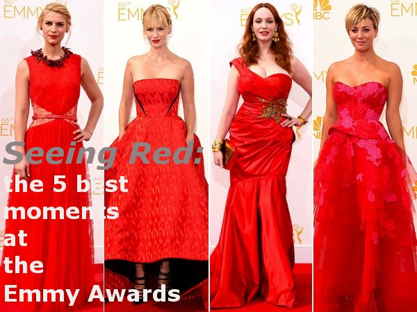 emmy awards, red dresses emmys, fashion, emmy dresses, emmy awards, emmy trends, bryan cranston julia louis dreyfus kiss, emmys kiss, julia roberts, emmy awards fashion, emmy dresses