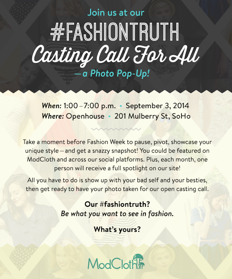 modcloth, nyfw, casting call, fashion, fashion bloggers
