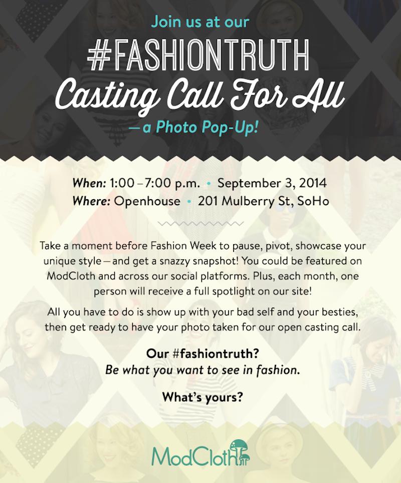 modcloth, nyfw, casting call, fashion, fashion bloggers