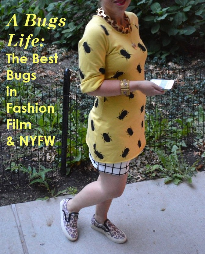 nyfw, bugs, bug dress, leather, fall fashion, movies, bugs in movies, matches fashion, bees, bee flats, bug dress, keogh collections,