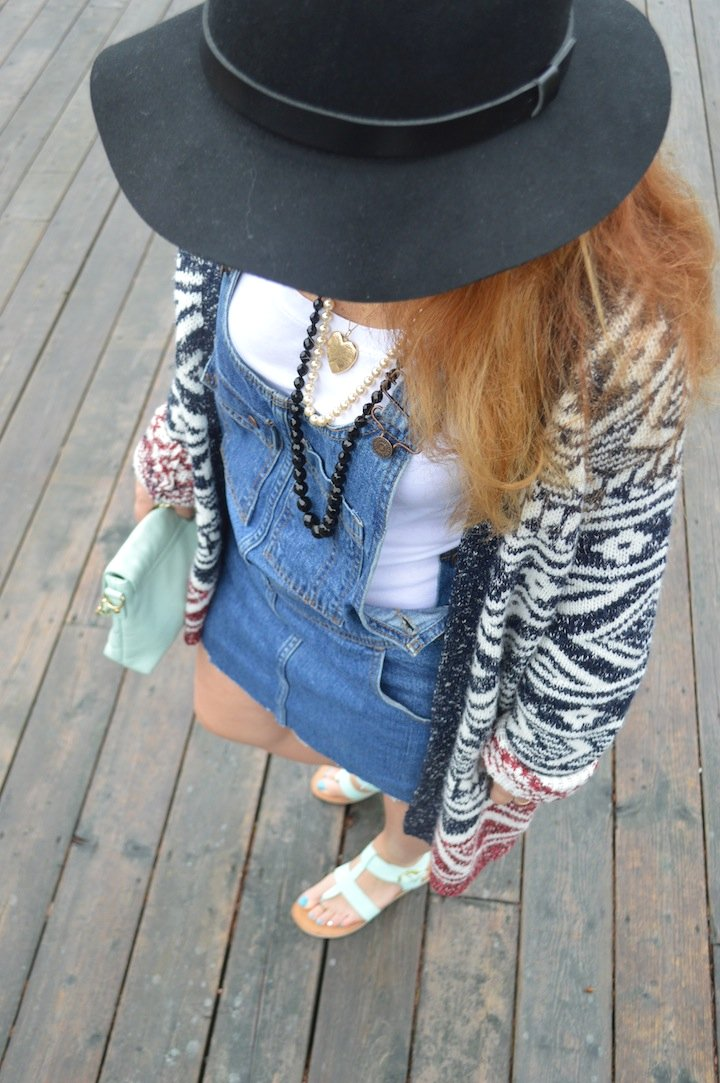 overalls, indian summer, cape breton, labor day, vintage levis, ebay, chunky cardigan, fall fashion, style, fblogger, panama hat