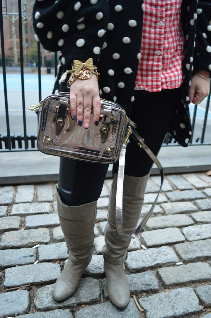 silver and gold, holidays, holiday style, holiday fashion, holiday season, etienne aigner, dsw, steve madden, polka dots, over the knee boots