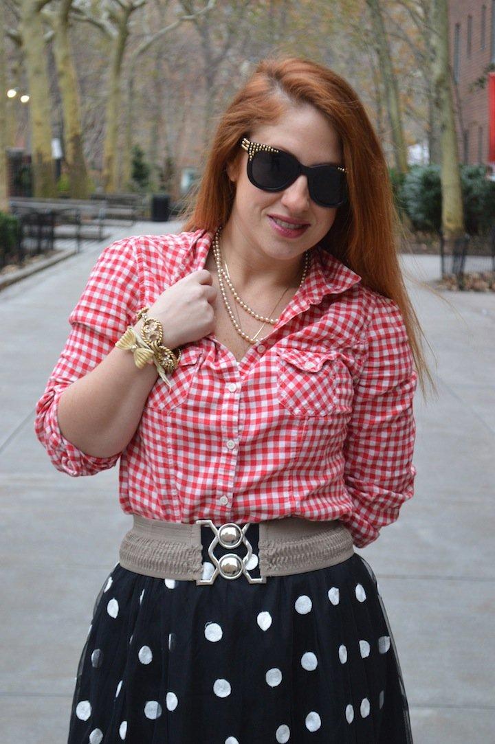 dots, polka dots, winter fashion, style, polka dot skirt, choies, gingham, affordable fashion, pattern play, mixed patterns