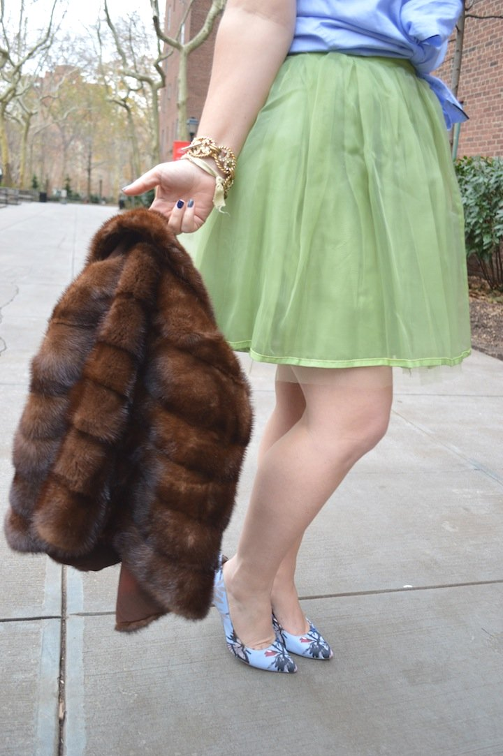 fur, fur pieces, fur capes, winter fashion, style, vintage, thrifting, flea market finds, tulle skirt, fashion blogger