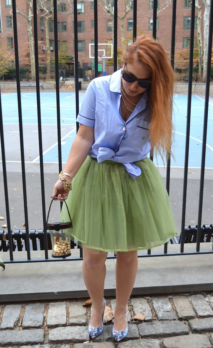 tulle skirts, tulle, fashion blogger, style bloggers, vintage, j.crew, j.crew pajama top, pajama fashion, vintage bag,