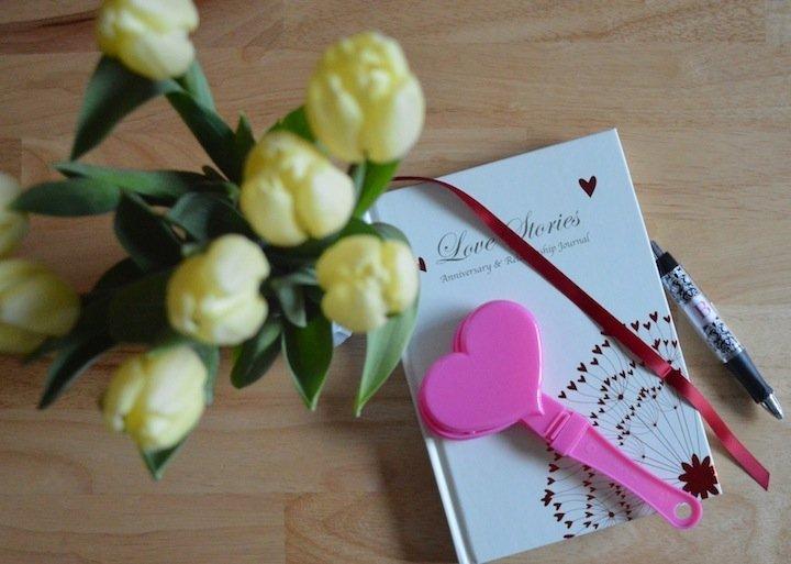 valentines day, valentines day gift ideas, love stories journal, journaling, diaries, flower, hearts,