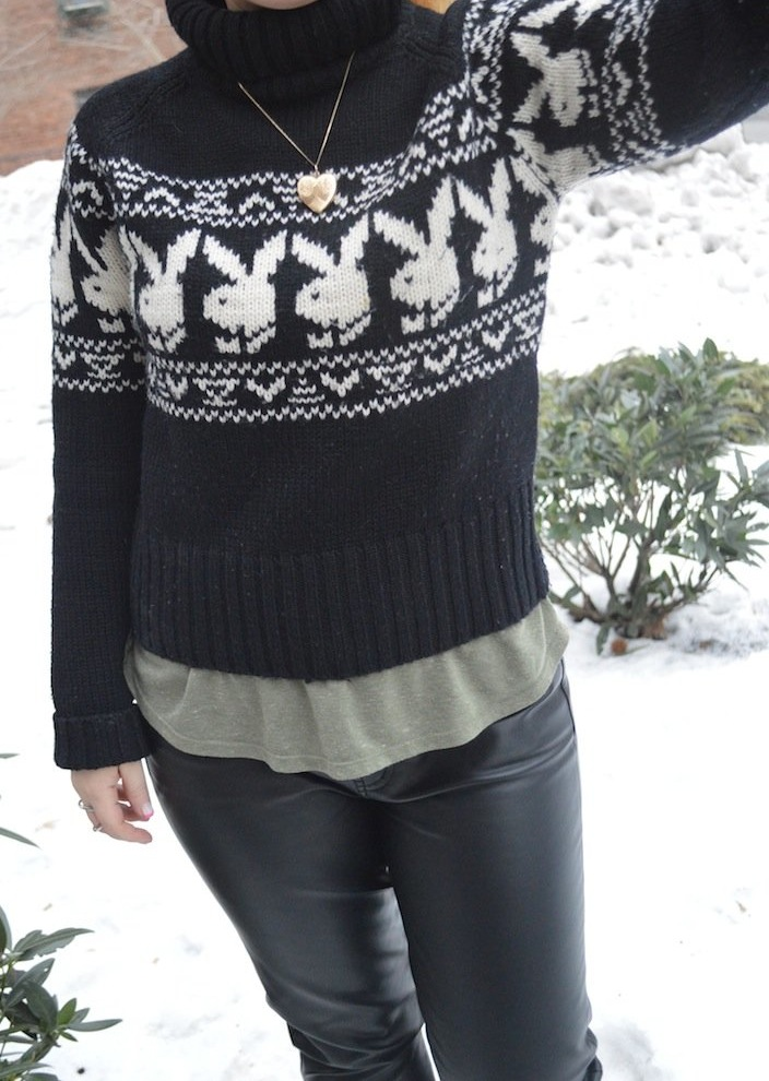 playboy, sweaters, vintage sweaters, winter fashion, playboy fashion, leather pants, j.crew, winter boots, snow boots, freezing nyc , turtlenecks