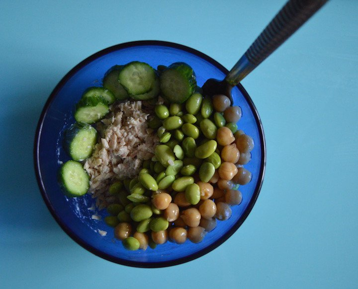 tuna protein salad, edamame salad, protein salad ideas, food, food blogger, healthy living, recipes, healthy recipes, lunch recipes, lunch ideas, salad ideas, lunch