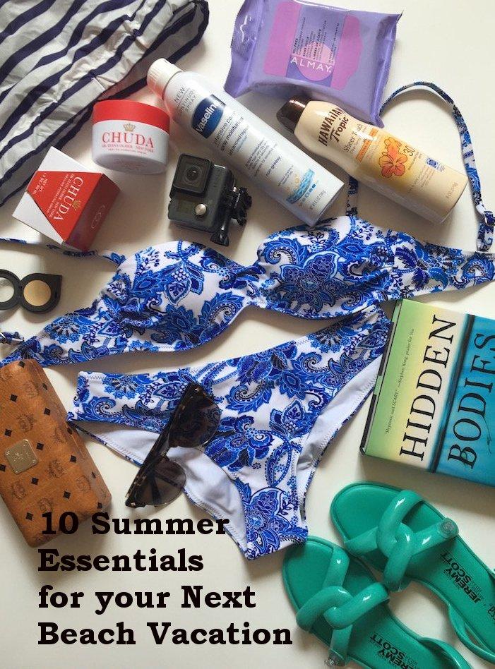 beach essentials, summer vacation, beach vacation, vacation checklist