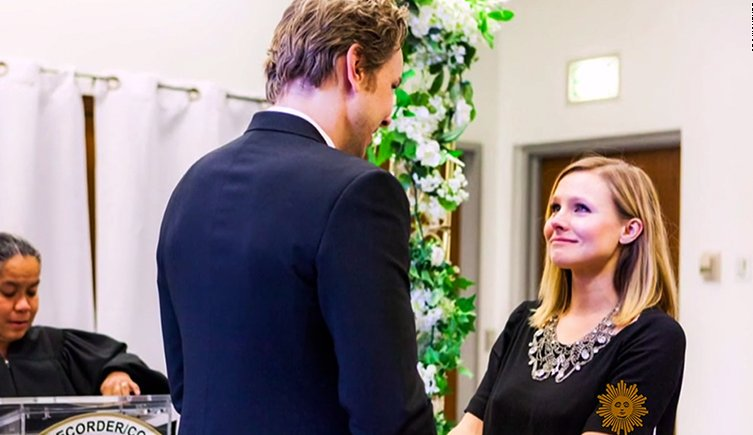celebrity bride guide, celebrity weddings, celebrity brides, cheap celebrity weddings, kristen bell and dax shepard,