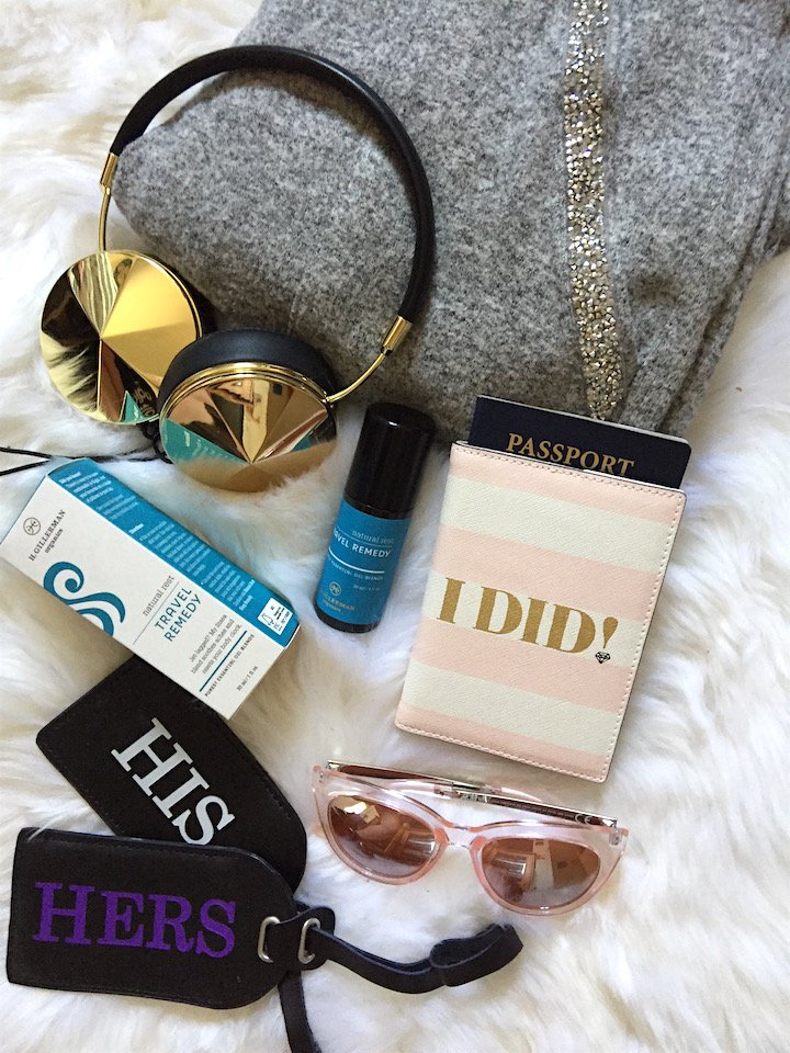 travel essentials, essentials for a long flight, red eye flight, long flights, honeymoon travel