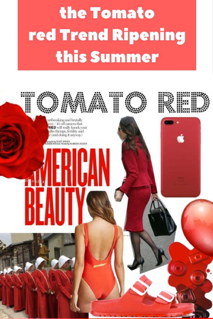 tomato red color, tomato red trend, amal clooney, the handmaids tale, red balloon, red trend, red bathing suit scam, Baywatch red swimsuit