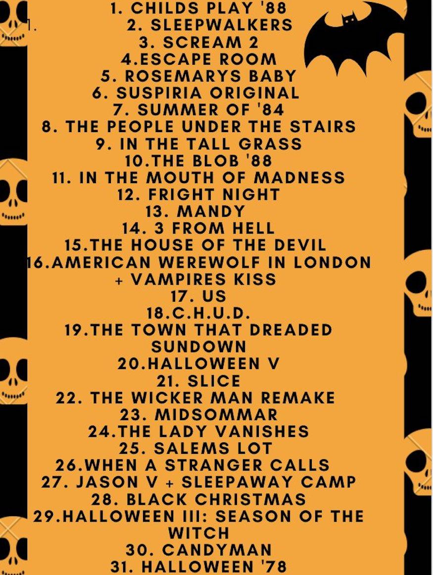 halloween horror movie challenge, 31 days of horror challenge, horror movie month