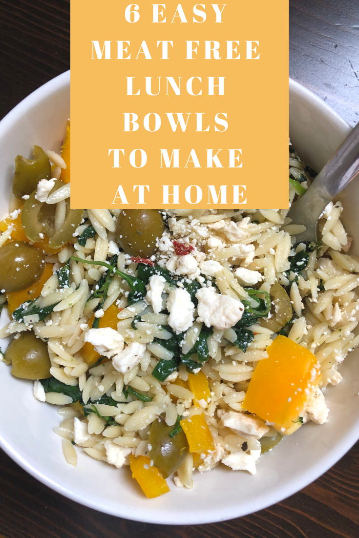 meat free lunch bowls, easy healthy lunches, lunches at home, healthy lunch bowl ideas