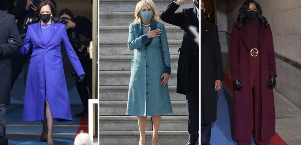 Inauguration Day style trends, Inauguration Day 2021, monochromatic coats, Bernie Sanders mittens, colorful masks, Inauguration Day fashion
