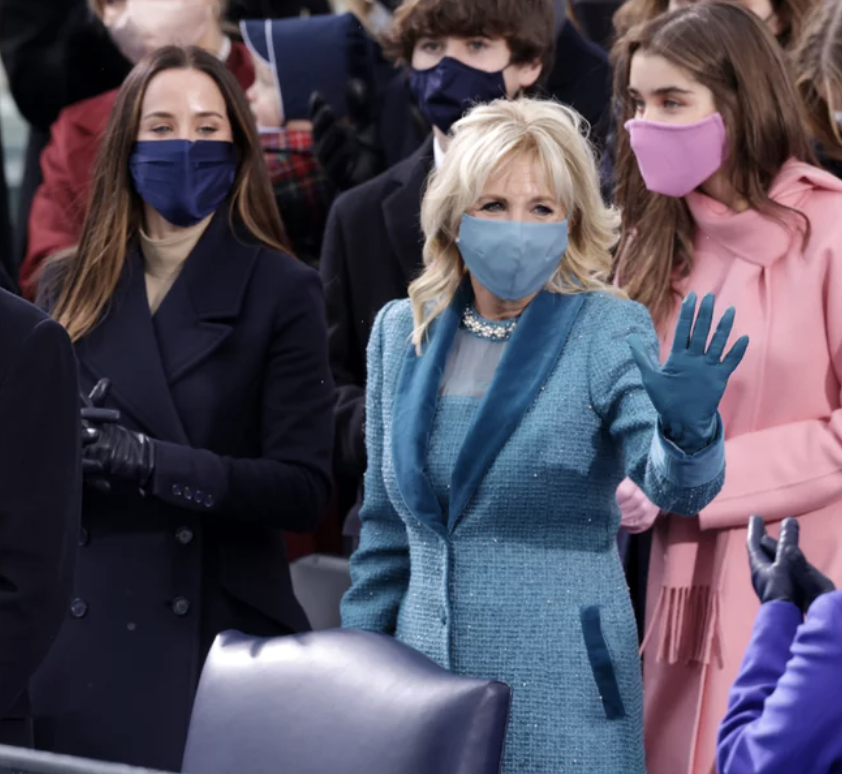 Inauguration Day style trends, Inauguration Day 2021, monochromatic coats, Bernie Sanders mittens, colorful masks, Inauguration Day fashion, Inauguration day coats
