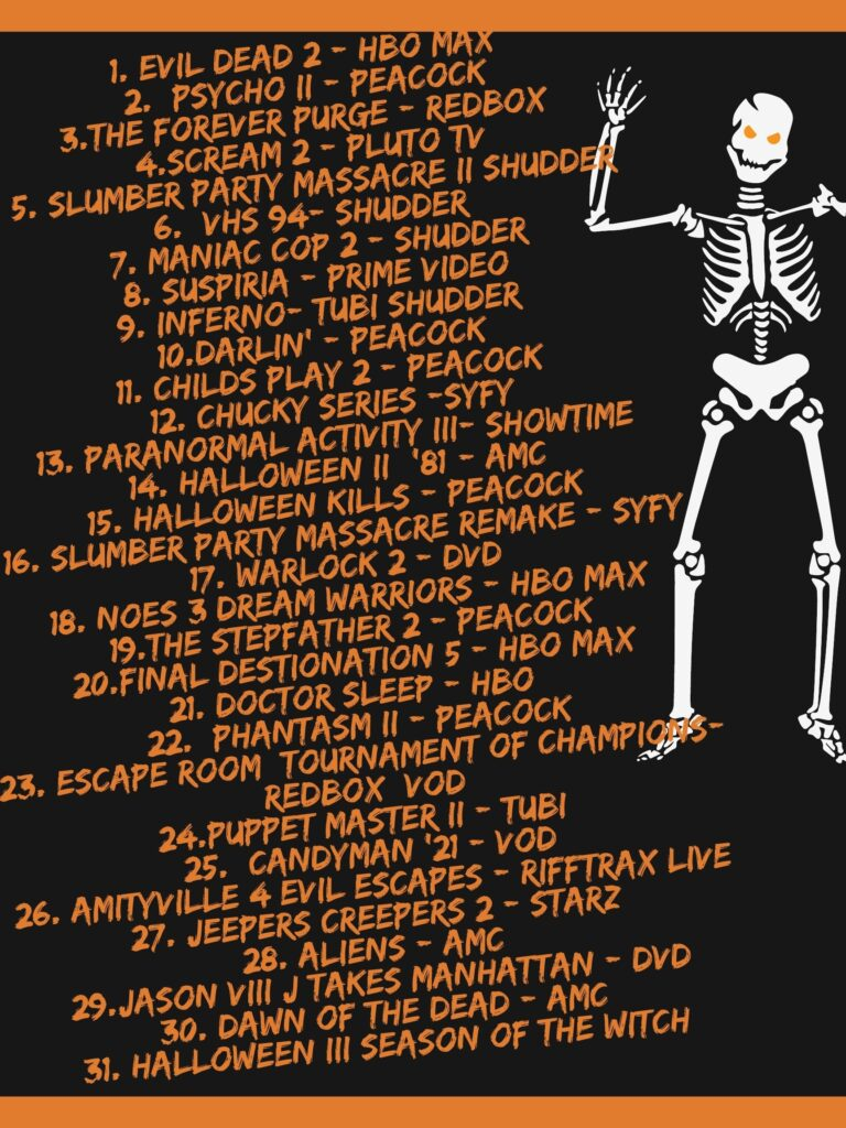horror movies challenge 2021, 31 days of horror movies challenge, 31 days of horror challenge, October horror movies, scary movie month